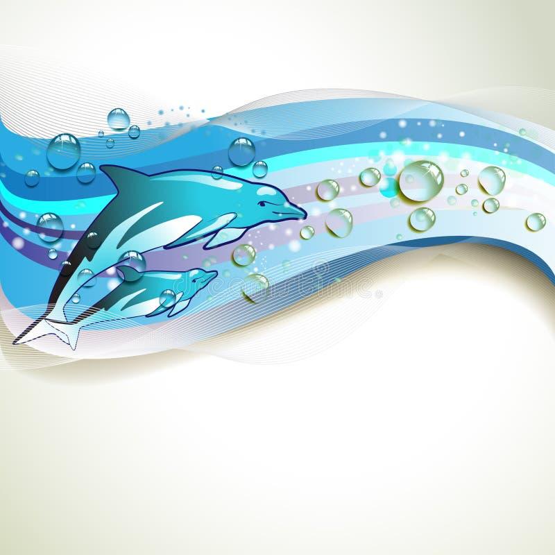 tło delfiny ilustracja wektor
