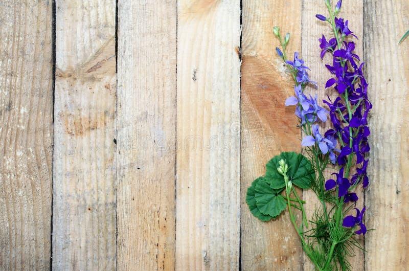 Tło deska z kwiatami fotografia stock