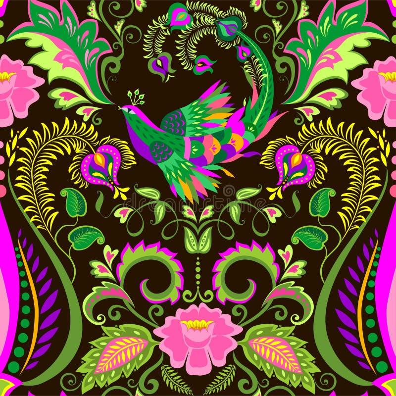 Tło dla dywanu z rocznika kwiecistym bezszwowym wzorem z egzotycznymi liśćmi, lotosowymi kwiatami i magicznym ptakiem, ilustracja wektor