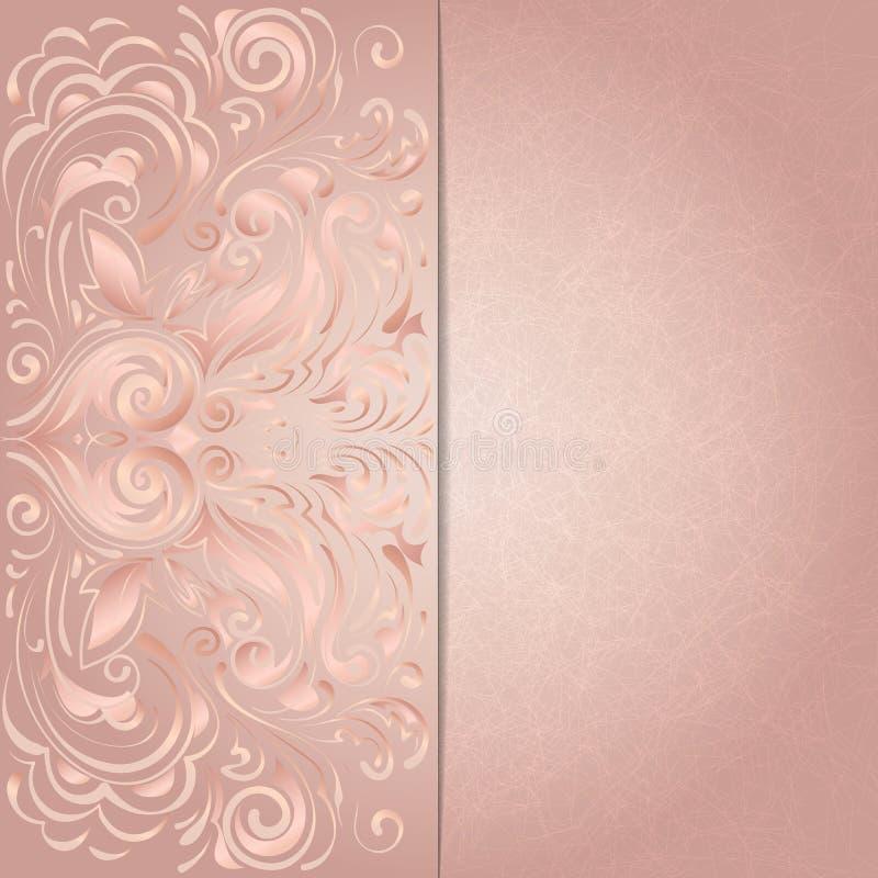 Tło dla zaproszenia z różowym kwiecistym wzorem royalty ilustracja