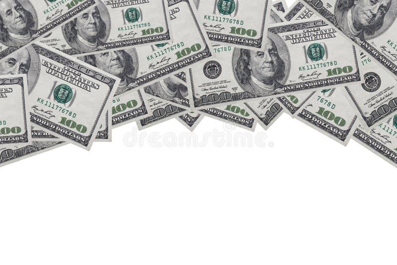 Tło 100 dolarów na białym tle z miejscem na rekordy i spacją obraz royalty free