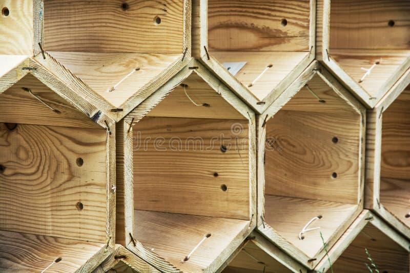Tło drewniani sześciokąty fotografia royalty free
