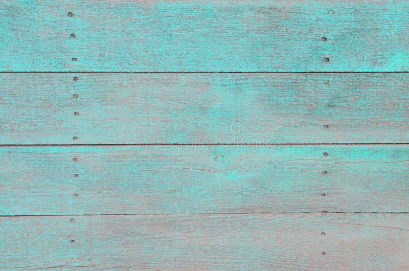 Tło drewno wsiada z starą farbą turkus zdjęcie stock