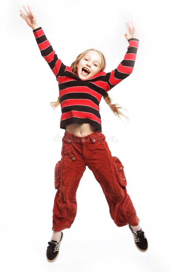 tło dziewczyna skacze biel obrazy stock