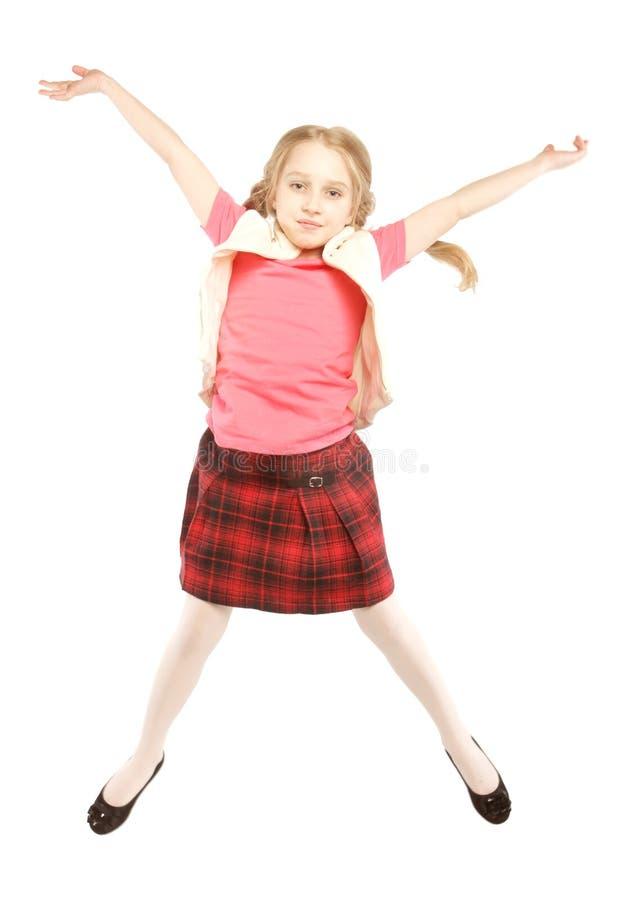 tło dziewczyna skacze biel zdjęcia stock