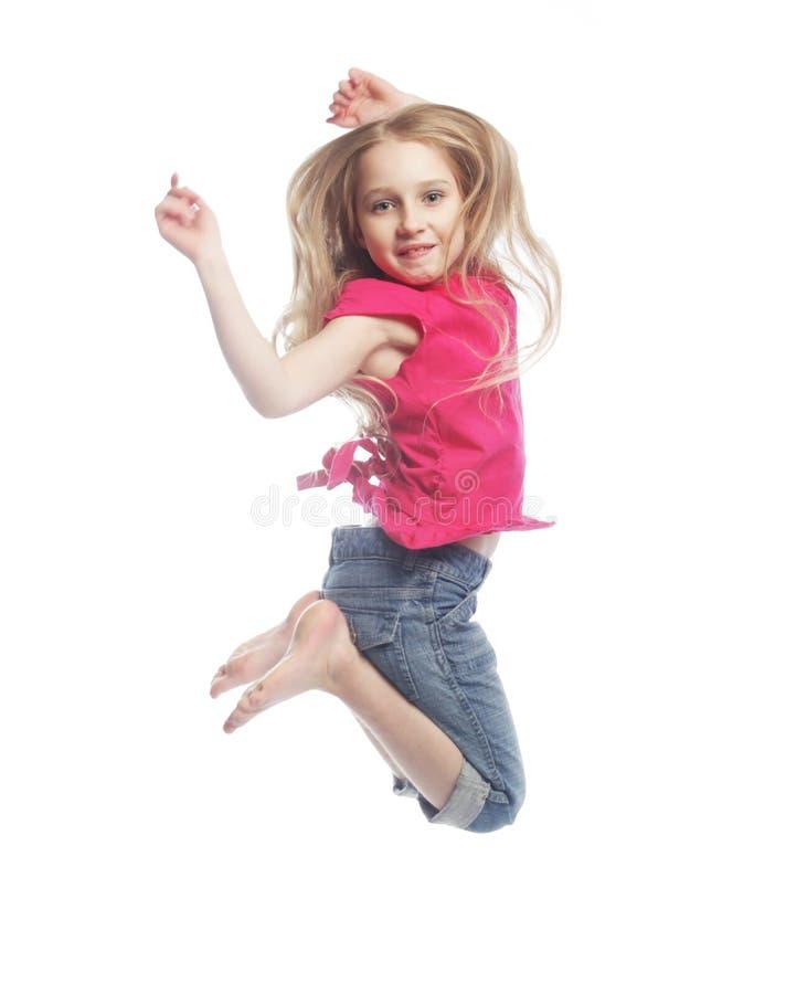 tło dziewczyna skacze biel zdjęcie royalty free