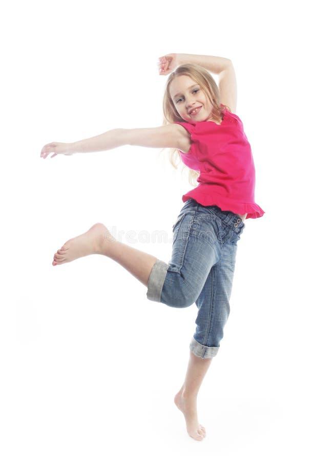 tło dziewczyna skacze biel obraz royalty free