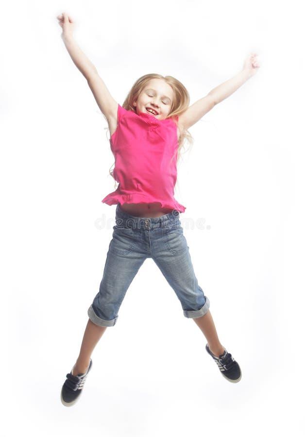 tło dziewczyna skacze biel obrazy royalty free