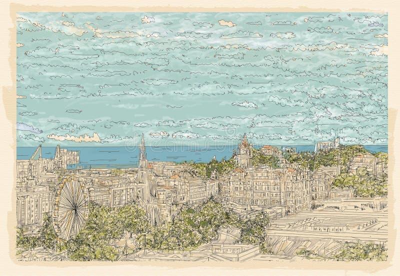 Tło Edynburg krajobraz royalty ilustracja
