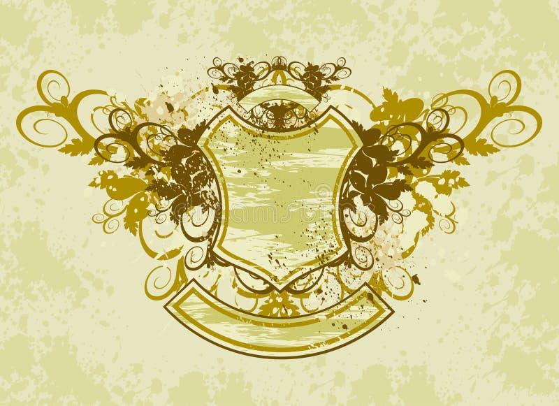 tło emblemata grunge rocznik ornamentu kwiatów royalty ilustracja