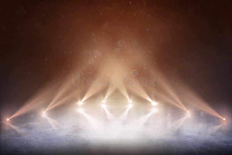 Tło Fachowy hokejowy stadium i pusty lodowy lodowisko z światłami obraz royalty free