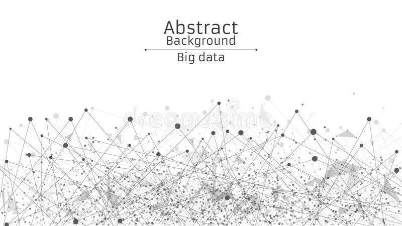 tło futurystyczny abstrakcyjne Związek linie i kropki w czerni Biały tło Czarna, połączony w sieci sieć, Technika i fantastyka na royalty ilustracja
