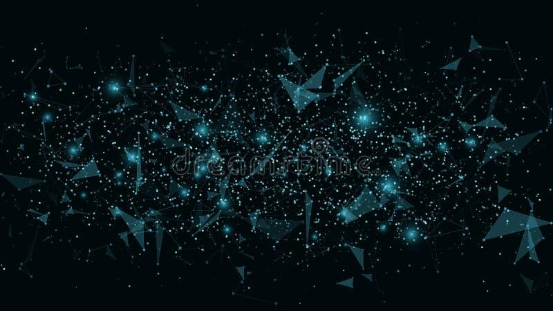 tło futurystyczny abstrakcyjne Związek trójboki i kropki Nowożytne technologie w projekcie Rozjarzona sieć błękit Plexus styl ilustracja wektor