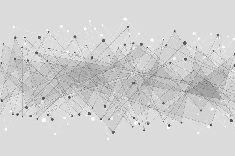 tło geometrycznego abstrakcyjne Związani trójboki na szarym tle Plexus sieć Duży Dane Nowożytny poligonalny projekt Wektorowa bol ilustracji