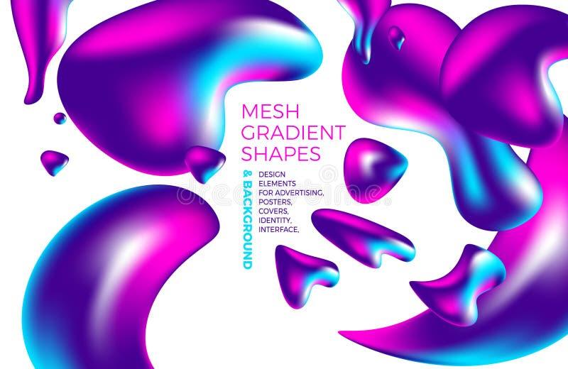 Tło gradientu 3D stubarwny abstrakcjonistyczny wektorowy holograficzny tło z postaciami i przedmiotami dla sieci pakuje, plakat,  royalty ilustracja