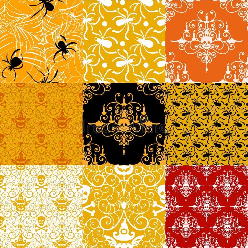 tło Halloween szczęśliwy wzór bezszwowego zestaw ilustracji