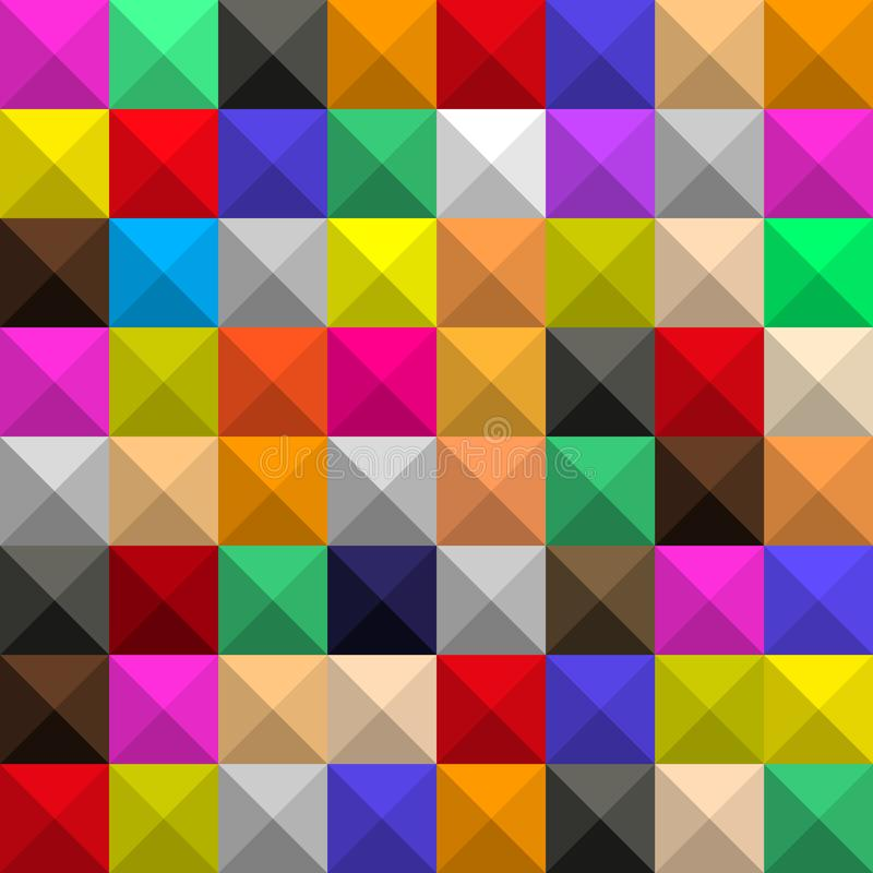 T?o identyczni barwioni kwadraty z cieniami i twarzami, w postaci graficznej geometrycznej wolumetrycznej mozaiki royalty ilustracja