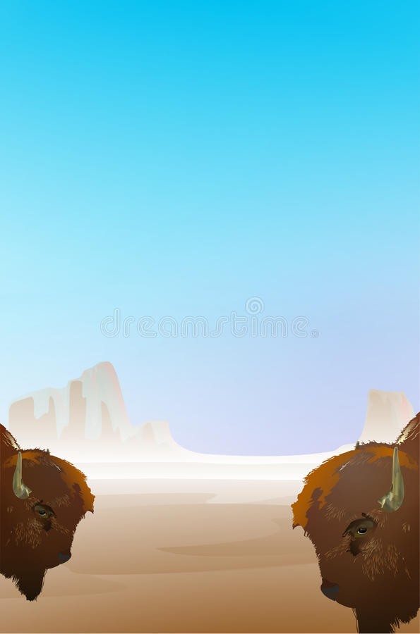 Tło ilustracja z dwa bizonem zdjęcie stock