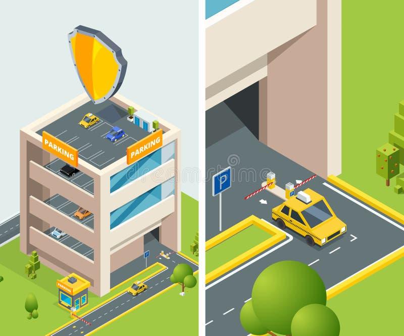 Tło isometric ilustracja wielo- równy parking z różnorodnymi samochodami ilustracji