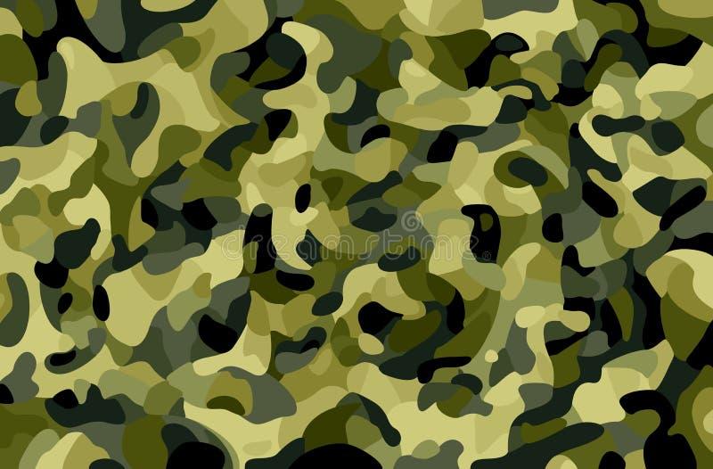 tło kamuflażu square bezszwowe kafli Zieleń, brąz, czerń, oliwka barwi lasową teksturę Modny stylowy camo druk Militarny temat royalty ilustracja