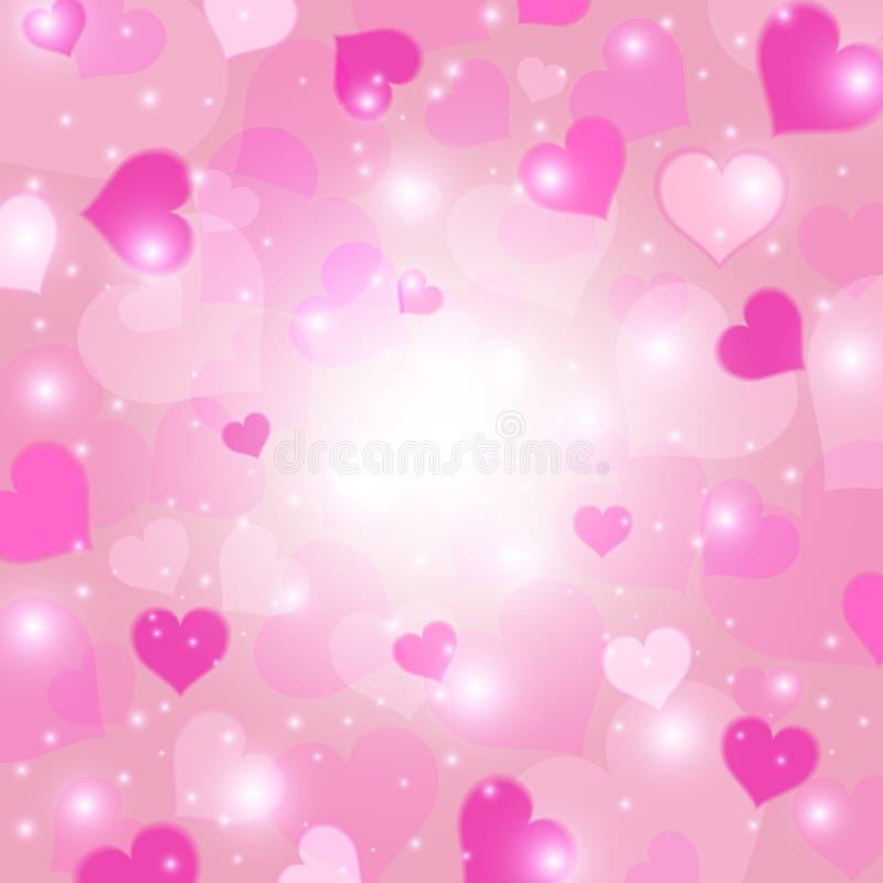 tło karty serca różowy kwieciste korony Miłości tekstura Walentynki ` s dnia pojęcie również zwrócić corel ilustracji wektora royalty ilustracja