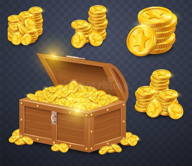 tło klatka piersiowa ukuwać nazwę złoto odizolowywający stary biały drewnianego Wiele skarby w gra stylu ilustracja wektor