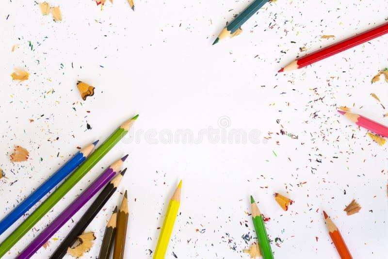 tło kolor barwił biały odosobnionych ołówkowych ołówki obraz royalty free