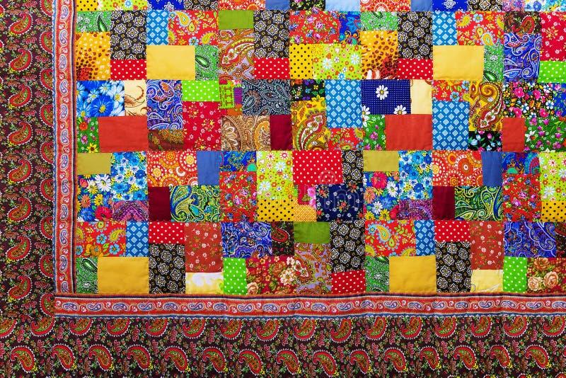Tło kolorowe patchwork tkaniny fotografia royalty free