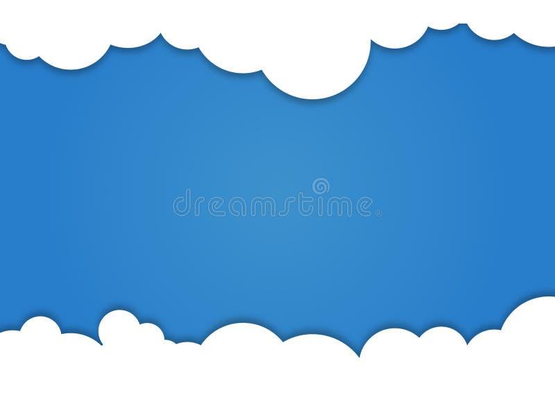 Tło komponujący biały papier chmurnieje nad błękitem również zwrócić corel ilustracji wektora ilustracji
