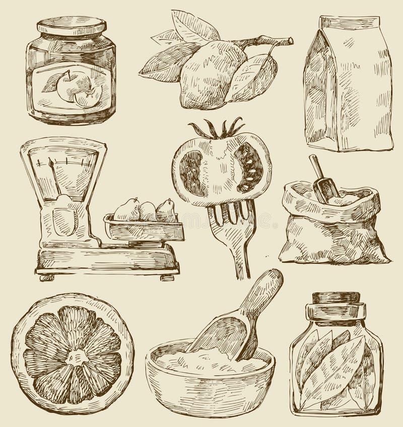 tło kuchnia ilustracji