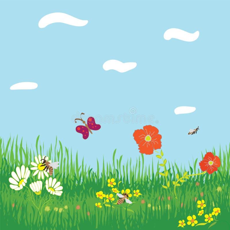 tło kwiaty grass horyzontalny bezszwowego ilustracji
