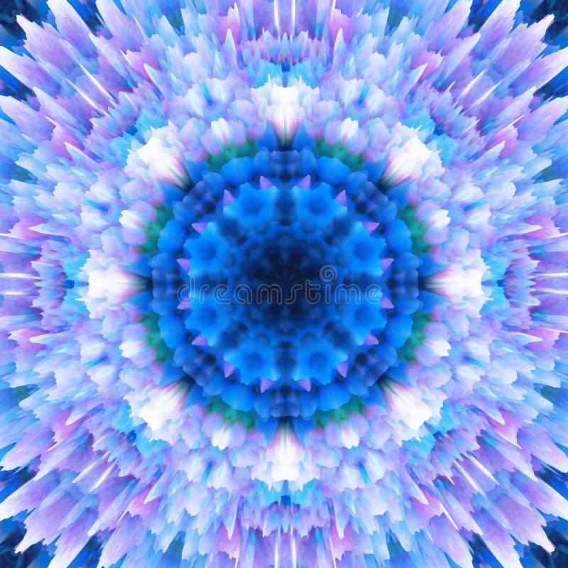 tło kwiecisty abstrakcyjne Fantazji płatek śniegu wzór Piękna kalejdoskop tekstura Dekoracyjny mandala ornament w błękitnych brzm ilustracja wektor