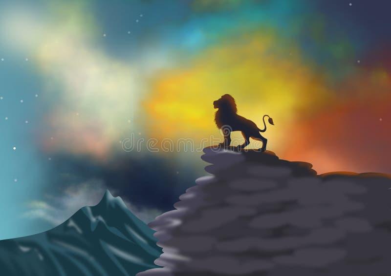 Tło lub tapeta z scenicznym krajobrazem z dramatyczną sylwetką na falezie nieba i lwa royalty ilustracja