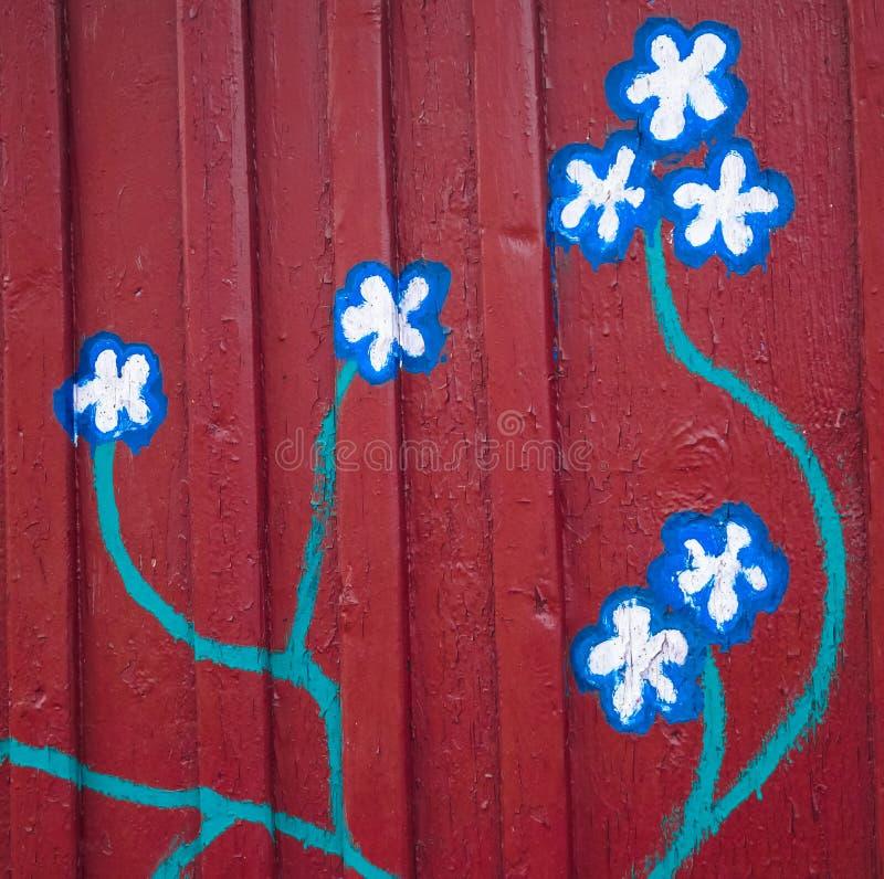 tło malujący kwiaty na ścianie zdjęcie stock