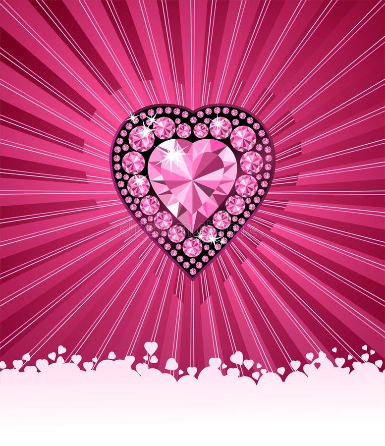 tło miłości serce diamentów wektora royalty ilustracja