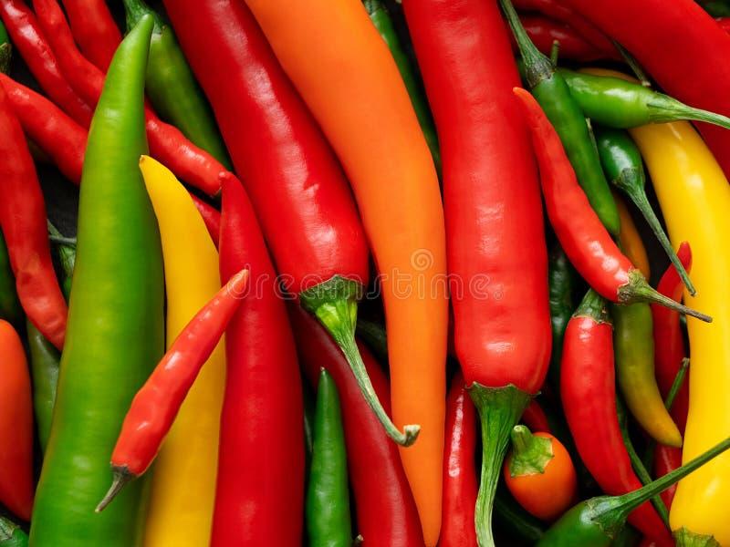 Tło mieszana czerwień, kolor żółty, pomarańcze i zieleni Cayenne chillies, z góry obrazy royalty free