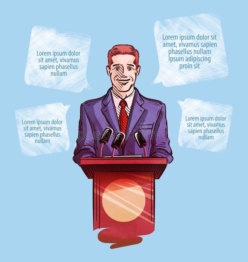 tło mikrofonów prasy konferencja odizolowane white Wektorowy ilustracyjny mężczyzna z mikrofonami royalty ilustracja