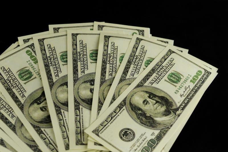 Tło mnóstwo banknoty pieniądze gotówka 100 dolarów zdjęcia royalty free