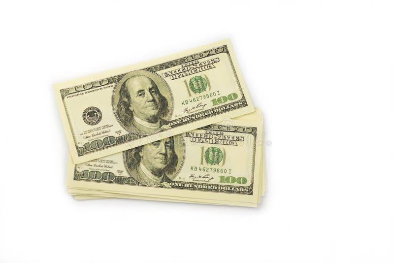 Tło mnóstwo banknoty pieniądze gotówka 100 dolarów zdjęcie stock