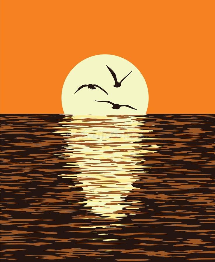 tło morze i wieczór zmierzch wektor ilustracji