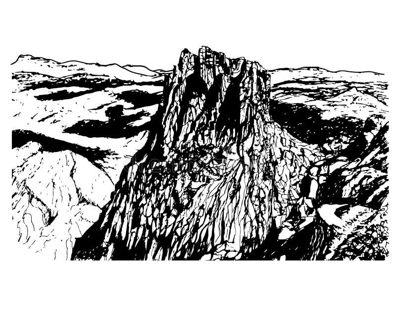 Tło naturalny park Sierra De Eshtrella, nakreślenie ilustracja royalty ilustracja