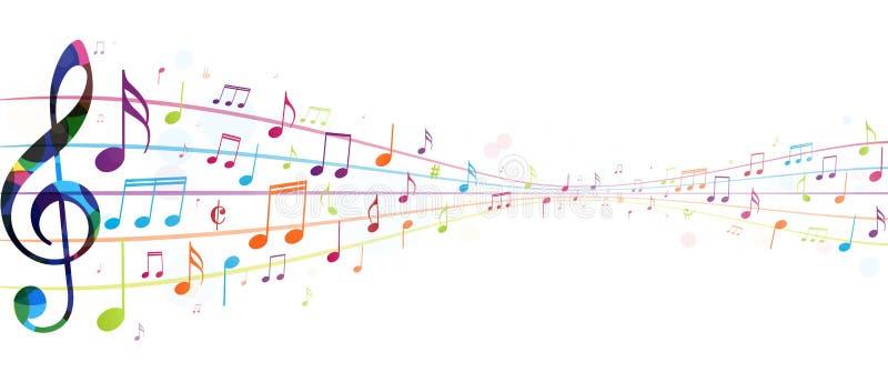 tło notatki kolorowe muzyczne ilustracja wektor