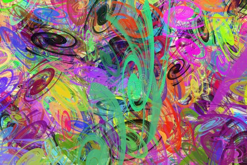 Tło od coloured chaotycznych spiral fotografia stock