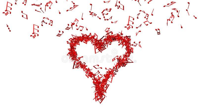 Tło od udziałów czerwona muzyka zauważa robić jeden dużemu sercu ilustracja wektor