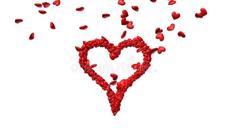 Tło od udziałów czerwoni serca robi jeden dużemu sercu royalty ilustracja