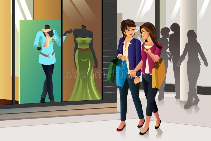 tło odizolowywający nad zakupy białymi kobietami ilustracji
