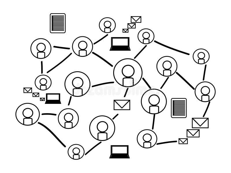 Tło Ogólnospołeczna sieć z sylwetek ikonami ilustracja wektor