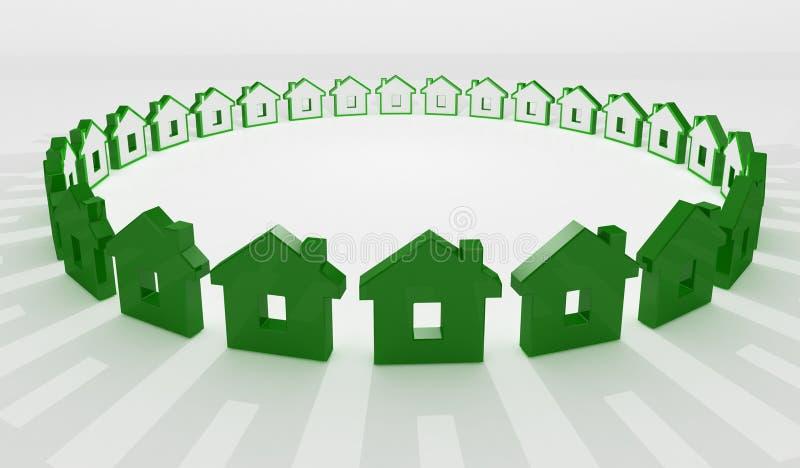 tło okręgu zielony dom ilustracji
