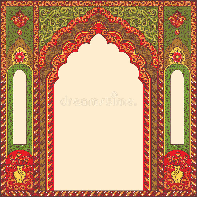 Tło ornamentował orientalnego wzorzystego wizerunek w postaci łuku ilustracja wektor