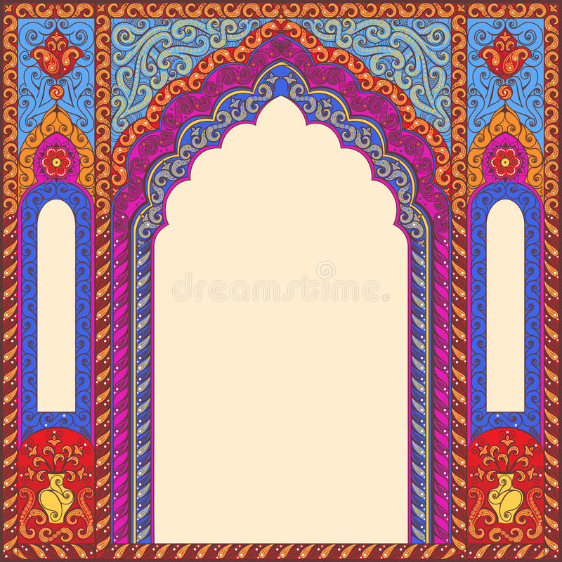 Tło ornamentował orientalnego wzorzystego wizerunek w postaci łuku royalty ilustracja